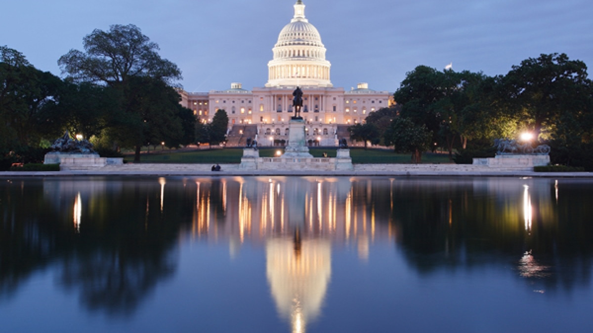 The Capitol building at night