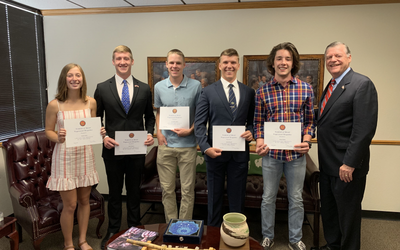 "Cole with five of the Fourth District appointees: Ainslee Gabriel (USNA), J.R. Cook (USAFA), Jack Grimmett (USAFA), John McDowell (USMA) and Samuel Wishon (USMA). Not pictured: Alena Dunaway (USMMA), Paula Hackbart (USNA) and Robert ""Bo"" Kemmet (USMMA)."